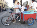 One of many bicycle street vendors selling cold sherbet